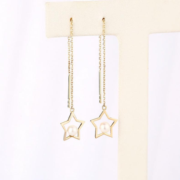 Fresh Water Pearl Accent Star Threader Earrings in 14K Gold - Ables Mall