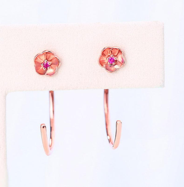 Ruby Accent Stud Flower Crawler Earrings in 14K Rose Gold - Ables Mall
