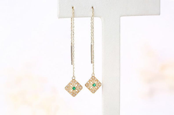 Cubic Zirconia Accent Natural Emerald Filigree Square Threader Gemstone Earrings in 14K Gold - Ables Mall