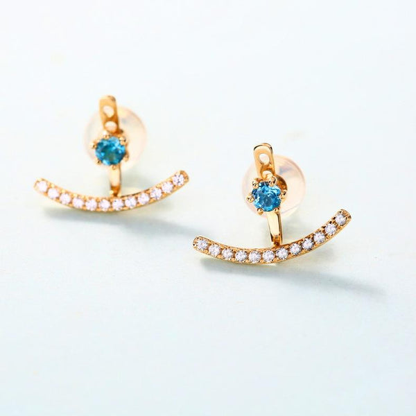 Blue Cubic Zirconia Paved Gemstone Detachable Stud Earrings in 14K Solid Gold Factory Manufacturer Wholesale R2E4R11013