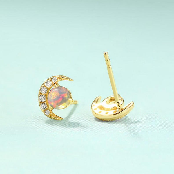 Opal New Moon Crescent Cubic Zirconia Accent Gemstone Stud Earrings in 14K Gold Factory Manufacturer Wholesale R2E4R11015