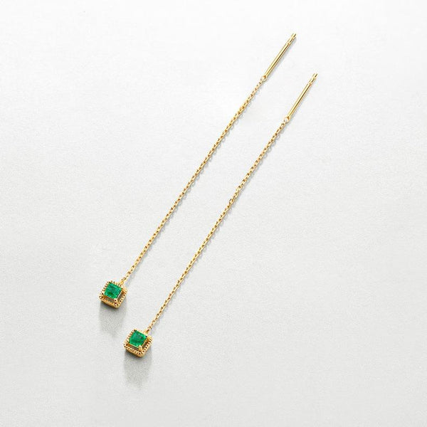 14K Solid Gold Natural Emerald Patterned Square Gemstone Chain Threader Earrings Factory Manufacturer Wholesale R2E4R11017