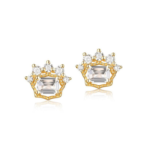 14K Solid Gold Natural Crystal CZ Accent Gemstone Crown Stud Post Earrings Factory Manufacturer Wholesale R2E4R11018