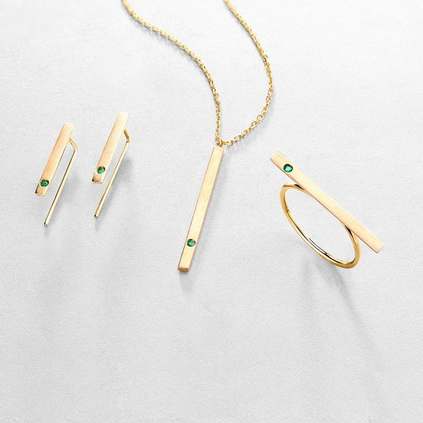 14K Yellow Gold Natural Emerald Long Bar Gemstone Crawler Earrings Factory Manufacturer Wholesale R2E4R11019