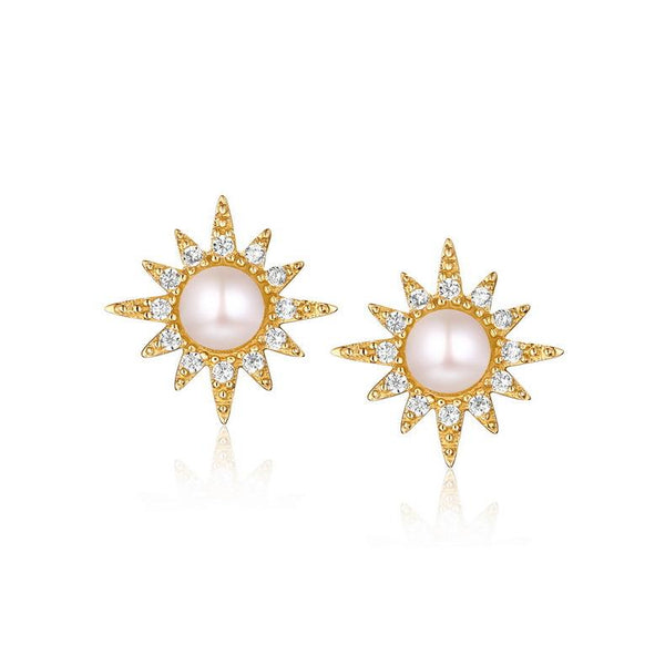 Freshwater Pearl CZ Accent The Sun Stud Post Earrings in 14K Gold Factory Manufacturer Wholesale R2E4R11021