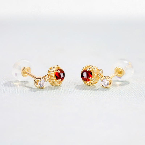 Round Garnet CZ Accent Gemstone Drop Stud Earrings in 14K Gold Factory Manufacturer Wholesale R2E4R11022