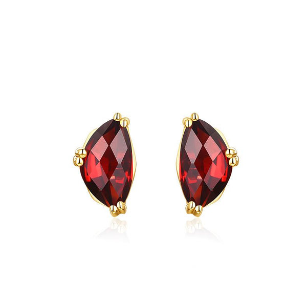 Prong Set Faceted Garnet Gemstone Stud Earrings in 14K Gold Factory Manufacturer Wholesale R2E4R11023