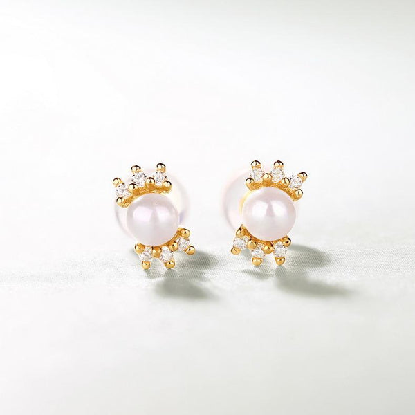Freshwater Pearl CZ Accent Stud Post Earrings in 14K Gold Factory Manufacturer Wholesale R2E4R11024