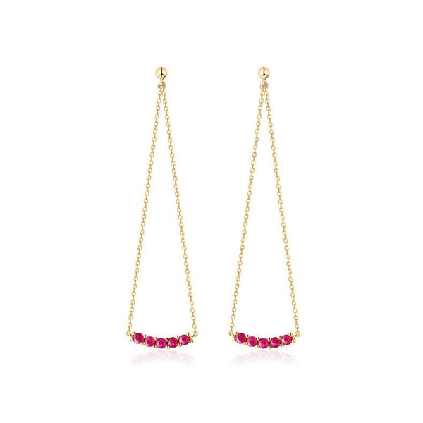 Lab Ruby Chandelier Gemstone Earrings in 14K Gold Factory Manufacturer Wholesale R2E4R11027