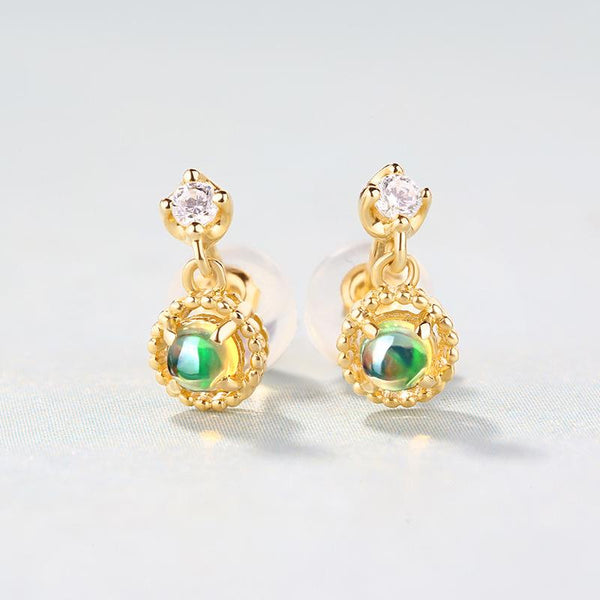 Opal Filigree Cubic Zirconia Accent Gemstone Drop Earrings in 14K Gold Factory Manufacturer Wholesale R2E4R11029