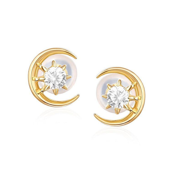 14K Solid Gold Cubic Zirconia Star Moon Gemstone Stud Earrings Factory Manufacturer Wholesale R2E4R11031