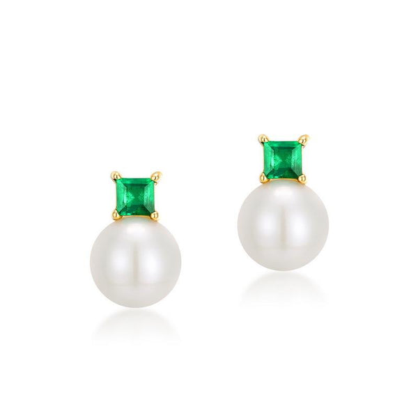 Natural Emerald on Freshwater Pearl Stud Earrings in Solid 14K Gold 2019 latest R2E4R11036