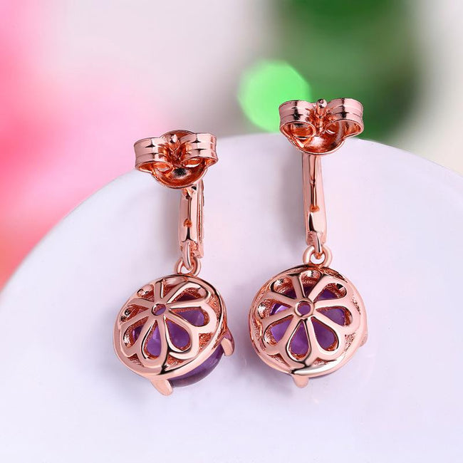 Authentic Amethyst Cubic Zirconia Accent Prong Set Dangling Drop Earrings in Sterling Silver Manufacturer Wholesale R2E4S21001