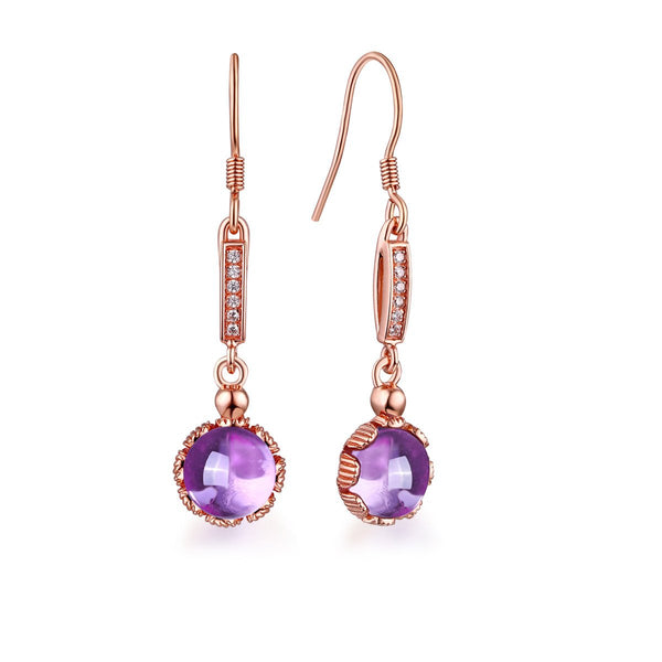 Genuine Amethyst Cubic Zirconia Accent Lotus Flower Drop Earrings in Sterling Silver Manufacturer Wholesale R2E4S21003