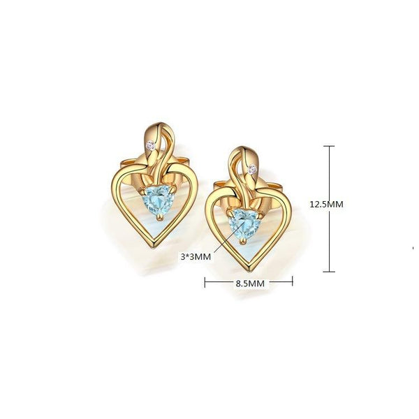 Genuine Amethyst Blue Topaz Love Heart Stud Earrings in Sterling Silver Manufacturer Wholesale R2E4S21004