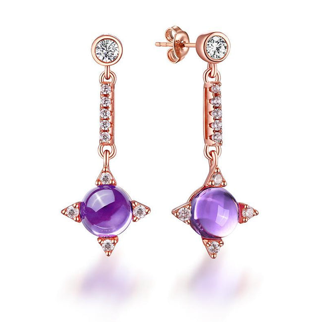 Real Amethyst Cubic Zirconia Accent Star Drop Earrings in Sterling Silver Manufacturer Wholesale R2E4S21005
