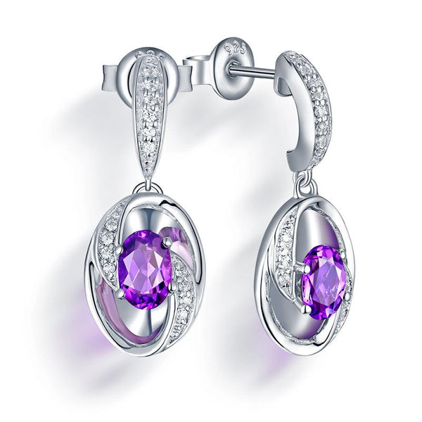 Real Amethyst Cubic Zirconia Accent Oval Infinity Drop Earrings in Sterling Silver Manufacturer Wholesale R2E4S21006