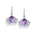 Natural Amethyst Cubic Zirconia Accent Queen Crown Drop Earrings in Sterling Silver Manufacturer Wholesale R2E4S21007