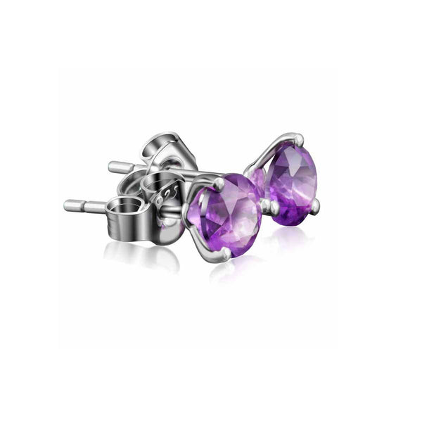 3 Prong Round Natural Amethyst Rose Crystal Blue Topaz Peridot Stud Earrings in Sterling Silver Manufacturer Wholesale R2E4S21009