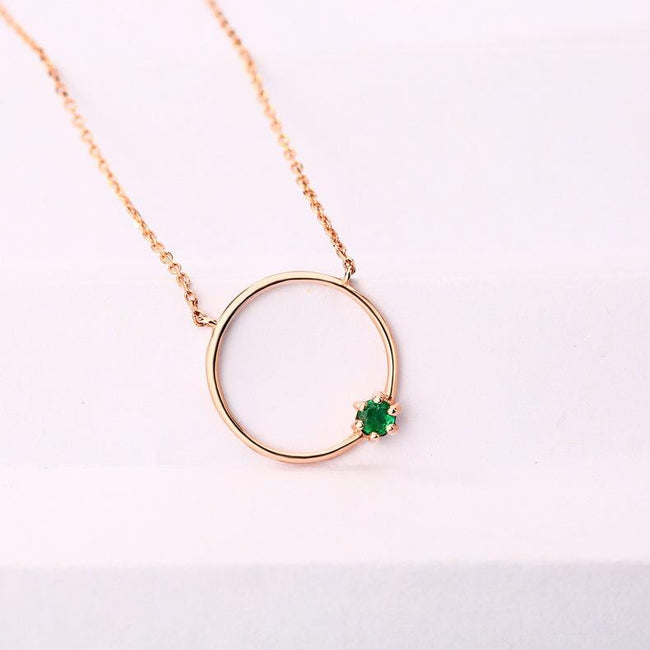 Round Natural Emerald Circle Gemstone Necklace in 14K Gold - Ables Mall
