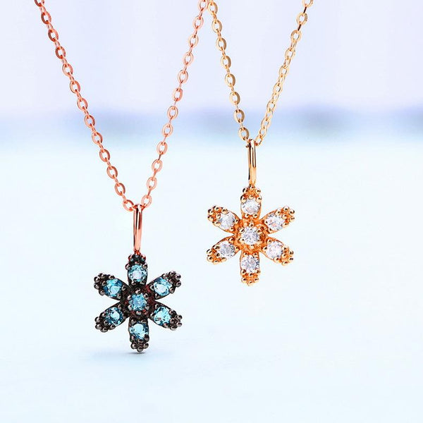 Round Natural Blue Topaz Antique Flower Pendant Gemstone Necklace Charm in 14K Rose Gold(no chain) - Ables Mall