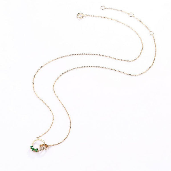 Cubic Zirconia Accented 3 Stone Natural Emerald Interlocking Circles Gemstone Necklace in 14K Gold - Ables Mall