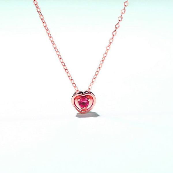 Round Tourmaline Love Heart Necklace Charm Gemstone Pendant in 14K Gold (no chain) - Ables Mall