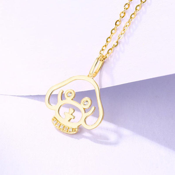 14K Solid Gold Puppy Husky Dog Necklace Charm Cubic Zirconia Accent Pendant (no chain) - Ables Mall