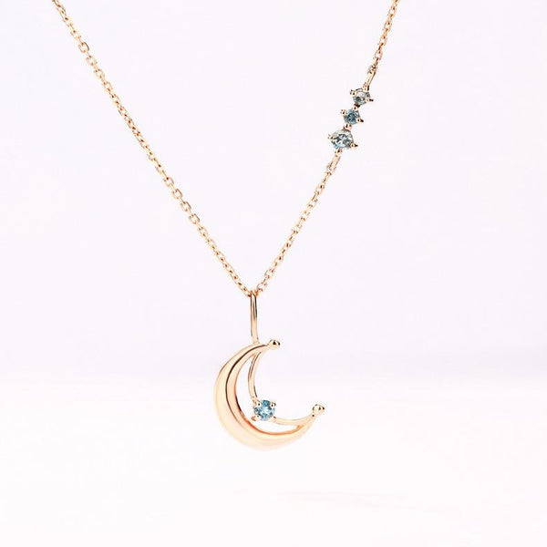 14K Solid Gold Crescent Natural Blue Topaz Accented Pendant Gemstone Necklace - Ables Mall