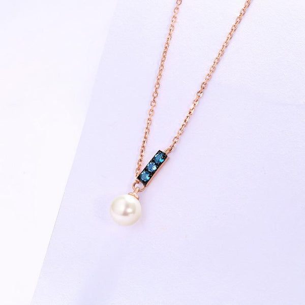 3 Stone Blue Topaz Bar Fresh Water Pearl Pendant Gemstone Necklace in 14K Gold - Ables Mall