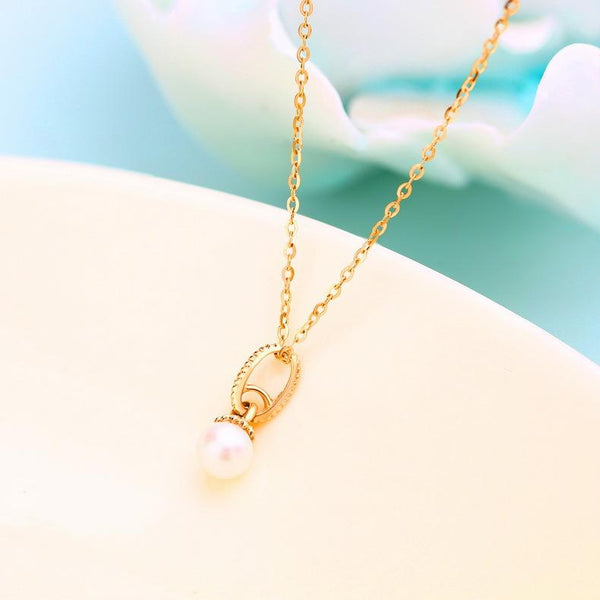 14K Solid Gold Patterned Oval Circle Fresh Water Pearl Necklace Charm Pendant (no chain) - Ables Mall