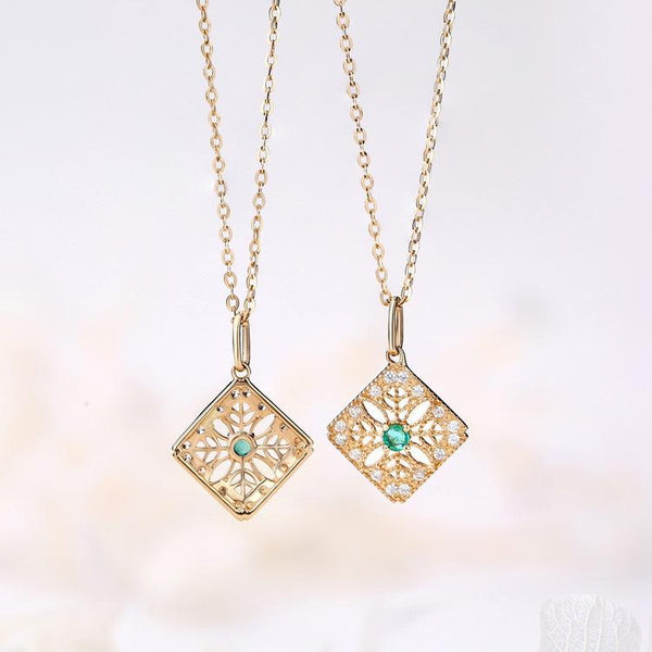 Cubic Zirconia Accented Filigree Square Natural Emerald Necklace Charm 14K Gold Gemstone Pendant (no chain) - Ables Mall