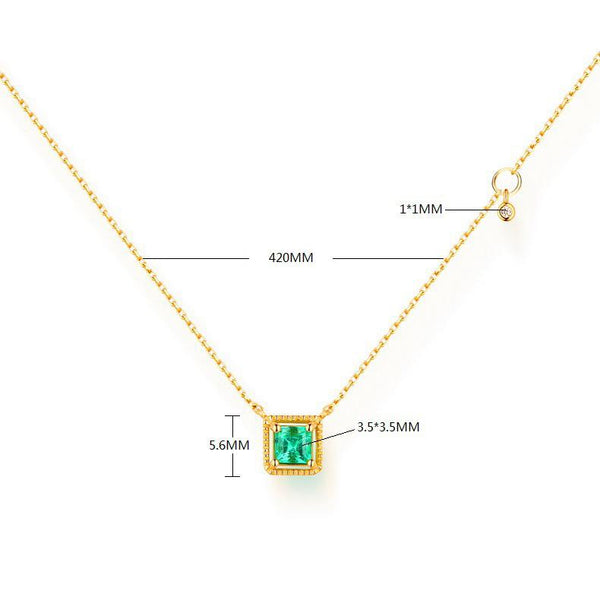 Natural Radiant Emerald Square Pendant Gemstone Necklace in 14K Gold - Ables Mall