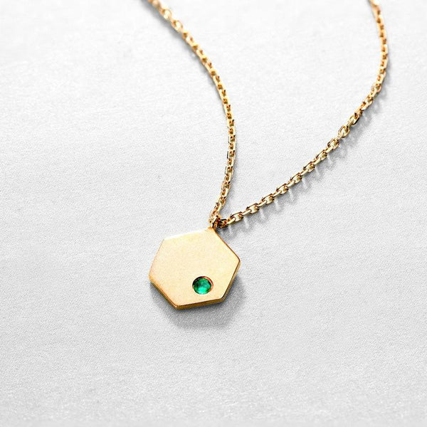 Natural Emerald Accent Contemporary Hexagon Pedant Necklace in 14K Gold - Ables Mall