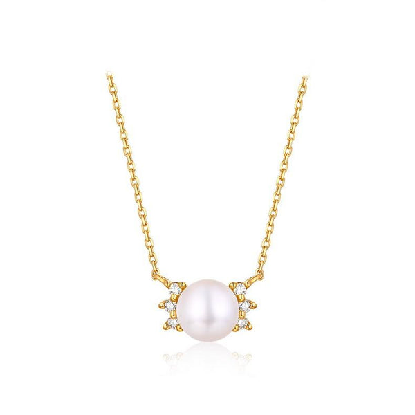 Freshwater Pearl and Cubic Zirconia Accented Dainty Necklace in 14K Gold - Ables Mall