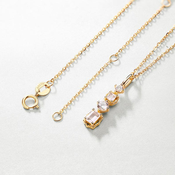 Natural Crystal and Cubic Zirconia Accented Dangling Pendant Necklace in 14K Gold - Ables Mall