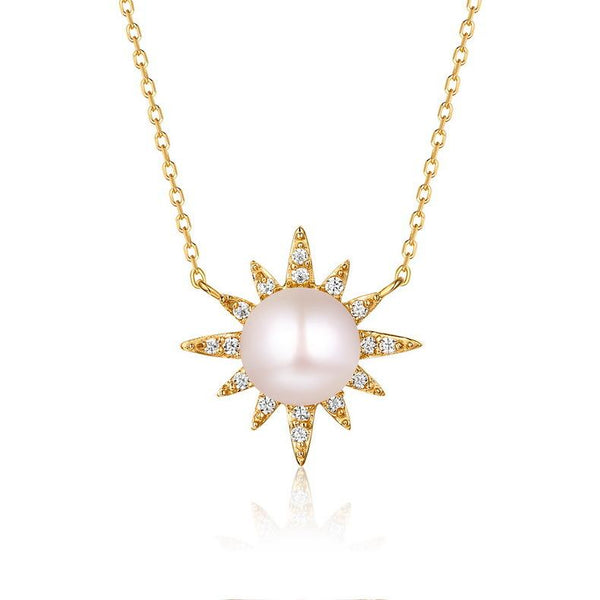 Freshwater Pearl Sun Flower Cubic Zirconia Accented Necklace in 14K Gold Factory Wholesale R2N3G11029