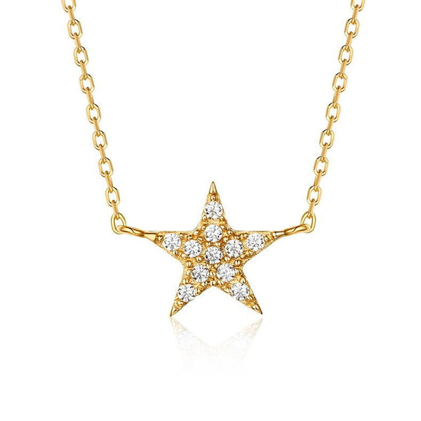 Star Starry Night Cubic Zirconia Accented Dainty Necklace in 14K Gold Factory Wholesale R2N3G11030