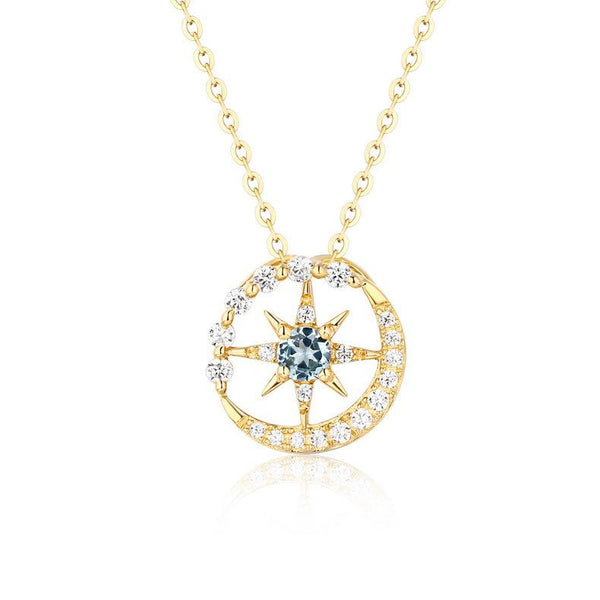 Star of David And New Moon Topaz Cubic Zirconia Accented Dainty Necklace Charm in 14K Gold (No Chain) Factory Wholesale R2N3G11031