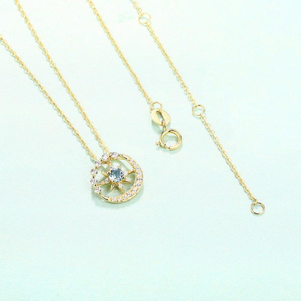 Star of David And New Moon Topaz Cubic Zirconia Accented Dainty Necklace Charm in 14K Gold (No Chain)