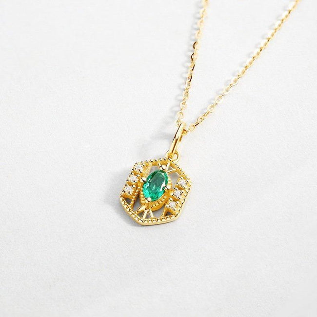 Filigree Ethnic Badge Natural Emerald Cubic Zirconia Accent Dainty Necklace in 14K Gold Factory Wholesale R2N3G11034