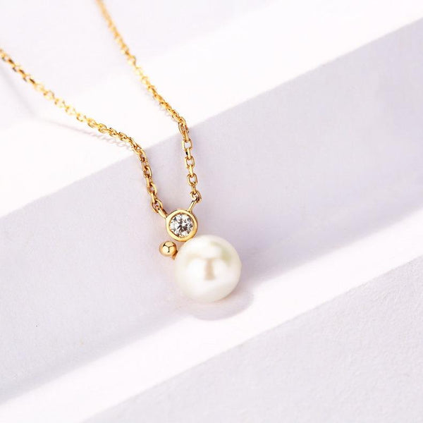 Solitaire Freshwater Pearl Cubic Zirconia Accent Dainty Necklace in 14K Gold Factory Wholesale R2N3G11035