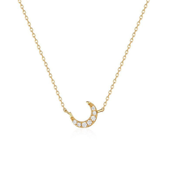 New Moon Crescent Cubic Zirconia Accent Dainty Necklace in 14K Gold Factory Wholesale R2N3G11036