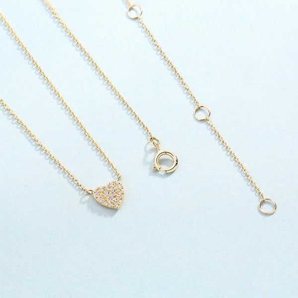 Love Heart Paved Cubic Zirconia Dainty Necklace in 14K Gold Factory Wholesale R2N3G11037
