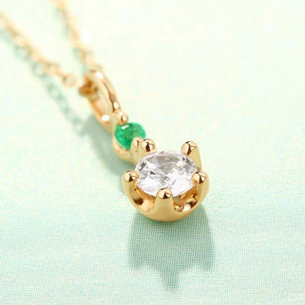 Cubic Zirconia And Natural Emerald Dainty Necklace Charm in 14K Gold (No Chain) Factory Wholesale R2N3G11039
