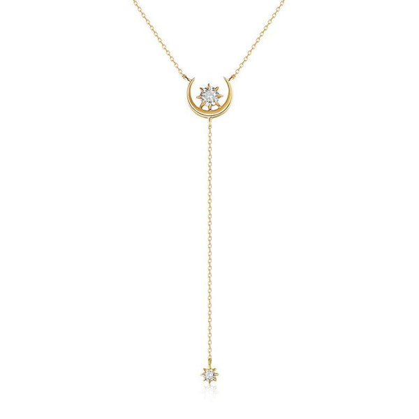 Cubic Zirconia Accent Moon and Star Dainty Dangling Pendant Delicate Necklace in 14K Gold Factory Wholesale R2N3G11043
