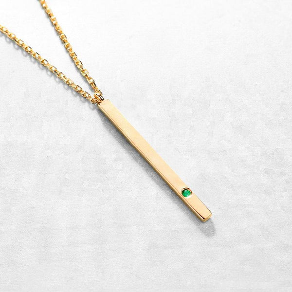 Natural Emerald Long Bar Dainty Pendant Delicate Necklace in 14K Gold Factory Wholesale R2N3G11045