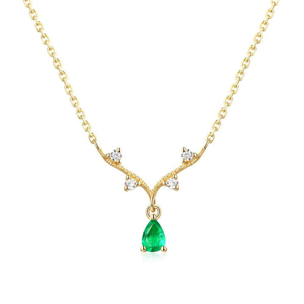 Genuine Emerald Antler Charm Cubic Zirconia Accent Dainty Necklace in 14K Gold Factory Wholesale R2N3G11046