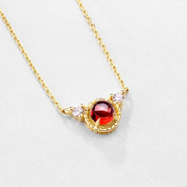 Natural Garnet Angel Cubic Zirconia Accent Dainty Pendant Delicate Necklace in 14K Gold Factory Wholesale R2N3G11047