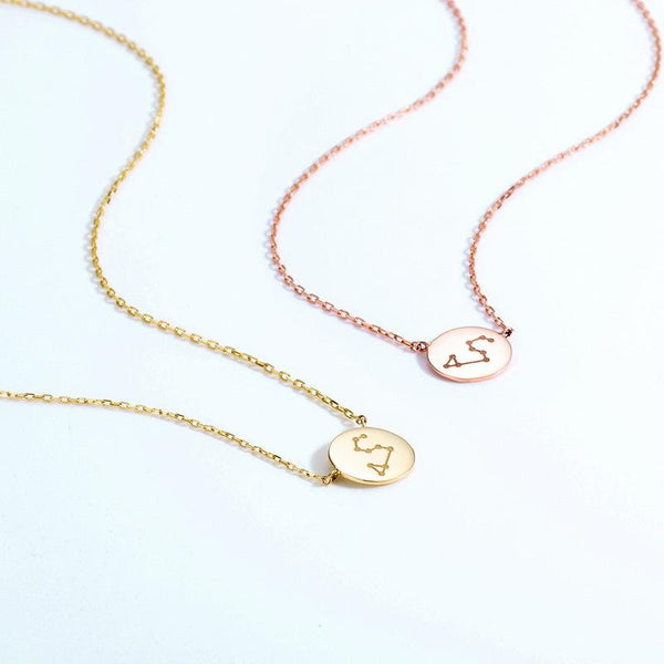 Libra Pendant Zodiac Dainty Necklace in 14K Gold Factory Wholesale R2N3G11055